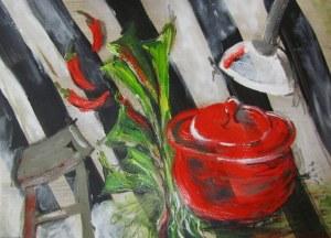 Kitchen flurry, 2012. Acrylic on watercolour paper, 21 x 29.7cm
