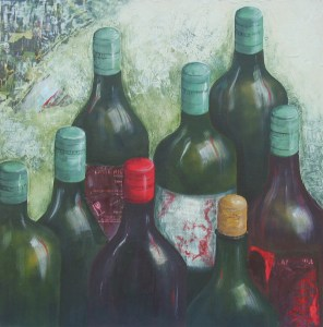 Wine from Flame Hill, 2009. Acrylic and collage on canvas, 45.5 x 45.5cm
