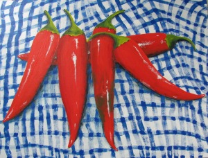 Chillies for Noreen, 2012. Acrylic on canvas. Sold.