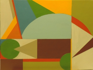 Abstraction in Space 3, 2014. Acrylic on canvas board, 30 x 40cm.