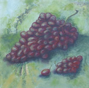 Grapes, 2009. Acrylic and collage on canvas, 45.5 x 45.5cm