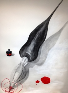 The pen is mightier than the sword, 2012. Charcoal, pencil and ink on paper, 84.1 x 59.4cm