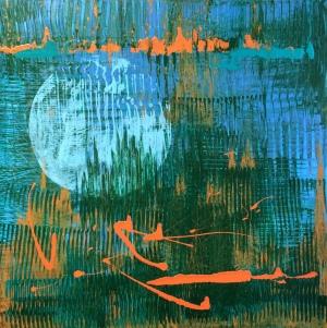 Blue moon, 2014. Acrylic on canvas, 61 x 61cm.