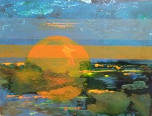 Moon Sky, 2014. Acrylic, ink and sand on board, 46 x 61 cm.