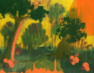 Hot landscape, 2014. Acrylic and ink on board, 46 x 61cm.