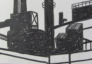 Industry, 2013. Charcoal on paper, 21 x 29.7cm.