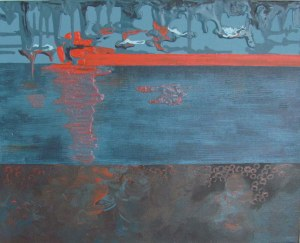 Sunset over the Pier, 2013. Acrylic on canvas board, 40.6 x 50.8cm