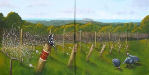 View to Coolum, 2009. Acrylic on canvas, Diptych each panel 21 x 70cm