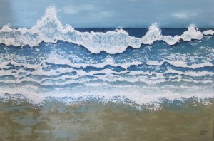 Waves Double Island Point, 2013. Acrylic, tissues, sand on canvas, 60 x 90cm.