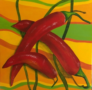 Hot Stuff 2. 2015. Acrylic on canvas, 41 x 41cm.