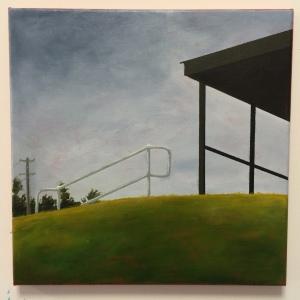 Railing 4, 2016. Acrylic on canvas, 30 x 30cm.