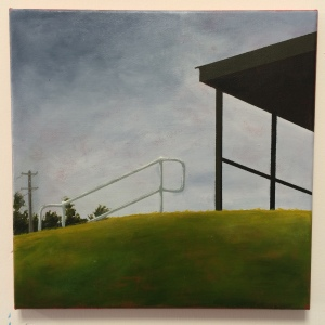 Railing 4, 2016. Acrylic on canvas, 30 x 30cm.